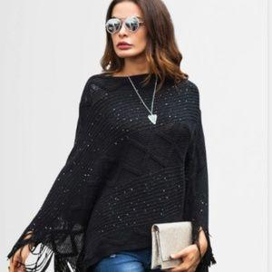 New Women's Black Shimmer Sweater Fringed  Poncho